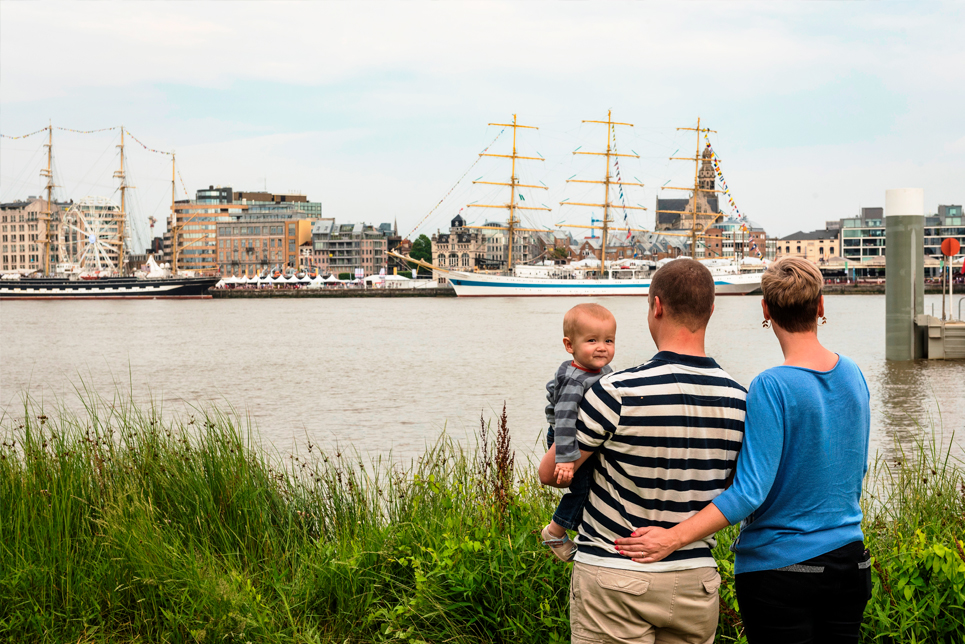 Visitors enjoying the Tall Ships Races in Antwerp
