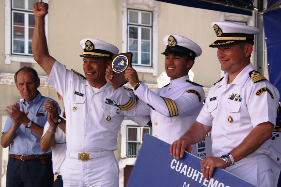The crew of Cuauhtemoc at the Prize Giving Ceremony in Lisbon