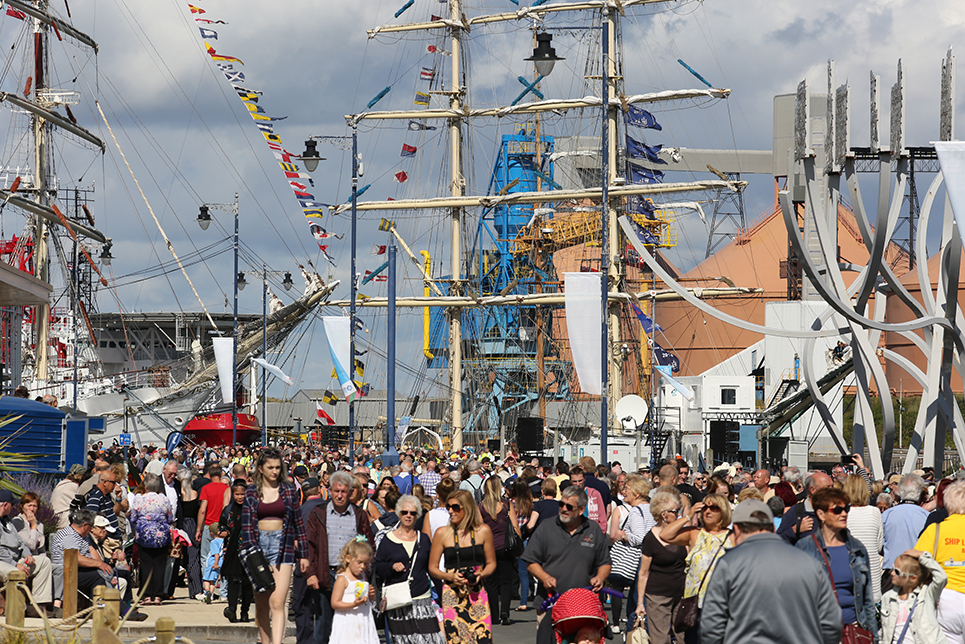 Crowds gather for day one of the North Sea Tall Ships Regatta 2016.