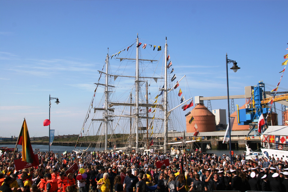 Crowds checking out the fleet in Blyth