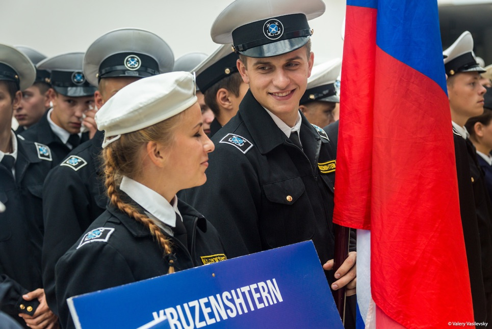 Crew members from Kruzenshtern enjoying the Opening Ceremony...