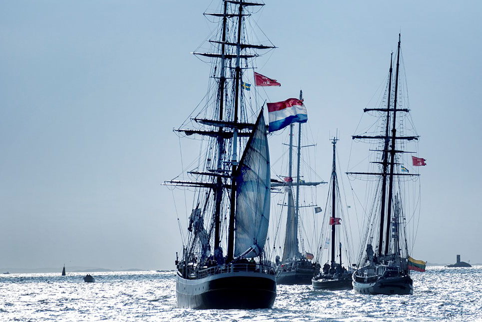 Vessels from the fleet of the North Sea Tall Ships Regatta at sea