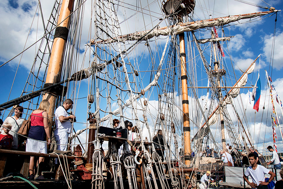Visitors getting up close to the Tall Ships