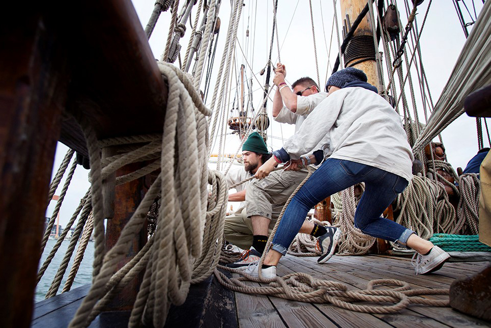 Trainees hard at work on board Russian Tall Ship Shtandart
