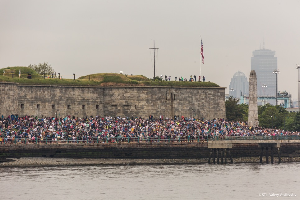 Crowds at the Grand Parade of Sail in Boston.