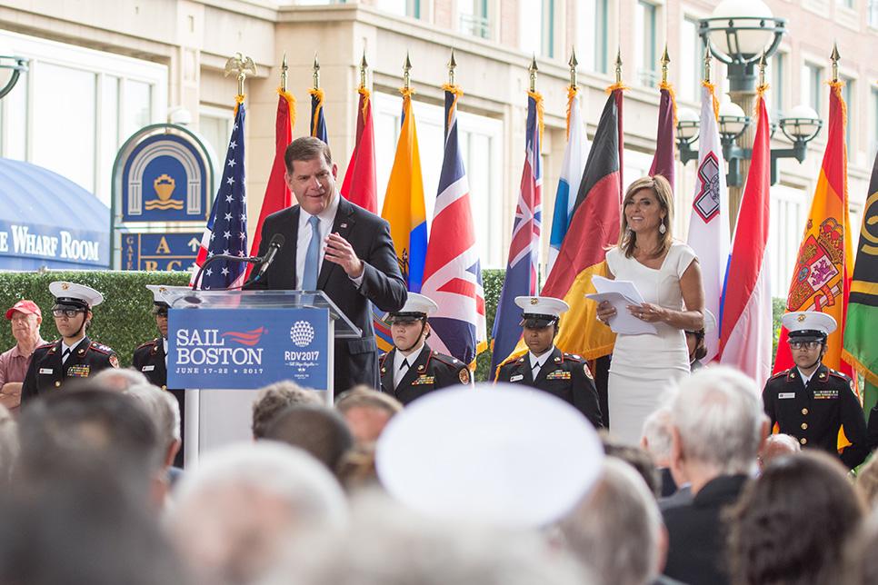 Boston Mayor, Marty Walsh, at the Sail Boston opening ceremony.