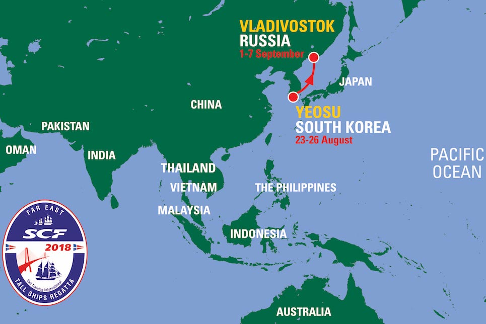 SCF Far East Tall Ships Regatta 2018 Route Map.