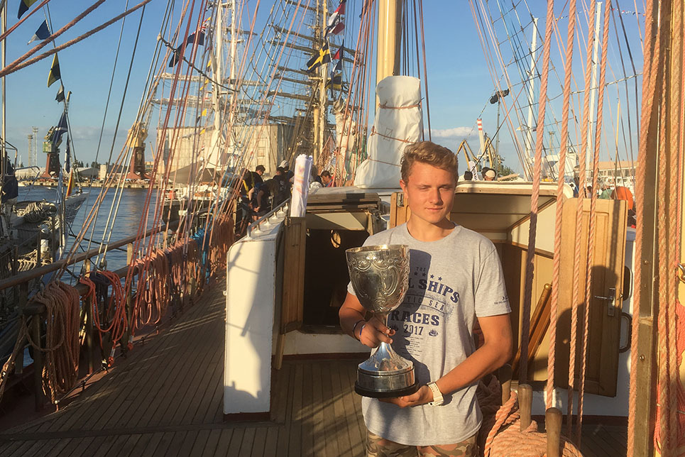 The Tall Ships Races 2017 Torbay Cup winner Karol Zdanowski on board the Tall Ship Pogoria with the Torbay Cup.